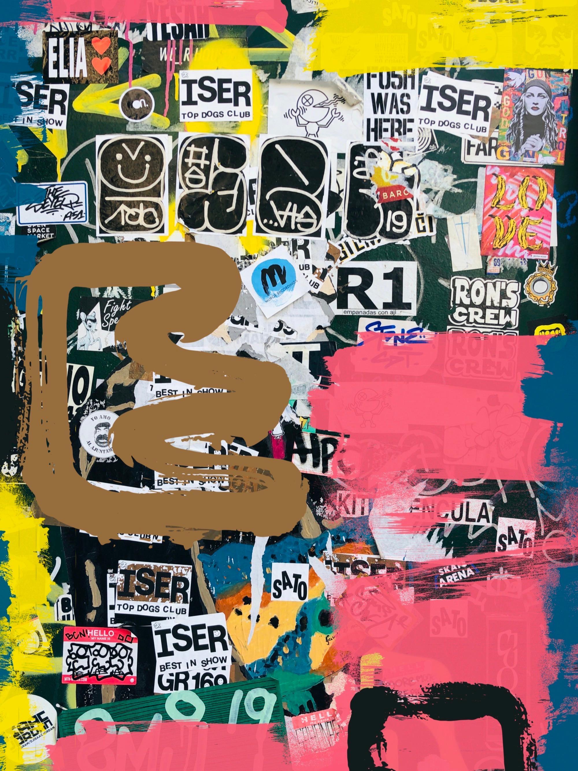 "Graffiti Street Art Mixed Medium on Canvas 45W x 60H"" Sort of thought"