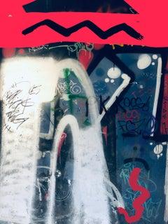 """Original Blue Graffiti Mixed Medium Art on Canvas 60h x 45w"""" After a Short Walk"""