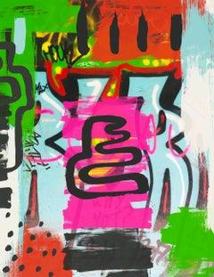 "Original Graffiti Street Art on Canvas, Mixed Medium Art 45W x 60H"" A New Mood"
