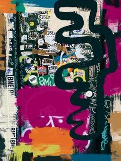 "Original Graffiti Street Art on Canvas Mixed Medium 45x60"" The World as it is"