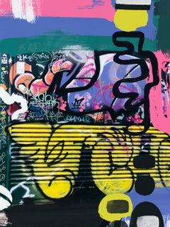 "Original Graffiti Street Art on Canvas, Mixed Medium Art, 45 x 60"" A Uncertainty"