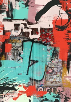 "Original Red Graffiti Street Art on Canvas Mixed Medium, The Puzzle 45X60"""