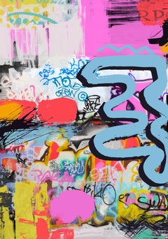 "Original Pink Colorful Street Art on Canvas Mixed Medium Art, Friendship, 45X60"""
