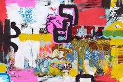 "Pink Graffiti Street Art Mixed Media on Canvas, An improvisational Style  45X60"""
