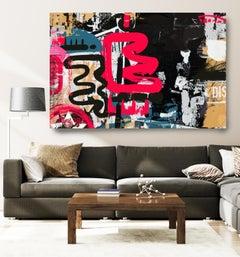 "Red Graffiti Street Art Mixed Media on Canvas, Transatlantic Accent  45HX60W"""