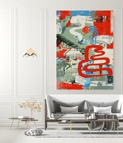 """Original Red Green Street Art on Canvas Mixed Medium Art, Contradict, 45X60"""""""