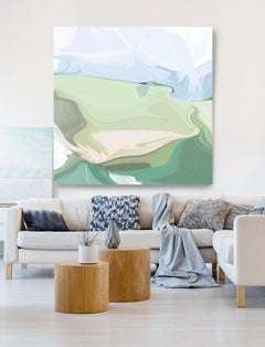 """Abstract Landscape Hand Textured Giclee on Canvas 45x45"""" The clarity of a shore"""