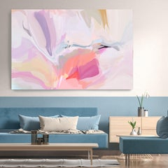 """Abstract Pink Purple Painting Textured Giclee on Canvas 40x60"""" The birth"""