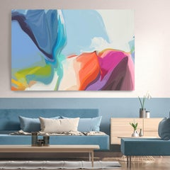 """Abstract  Blue Painting Textured Giclee on Canvas 40x60"""" The cheerful voice"""