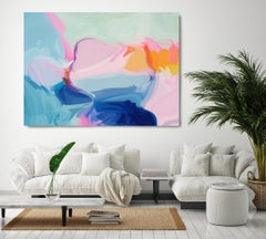 """Bliss, Blue Abstract Painting Textured Giclee on Canvas 40x60"""""""