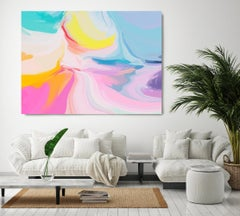 """Late Spring, Blue Abstract Painting Textured Giclee on Canvas 40x60"""""""