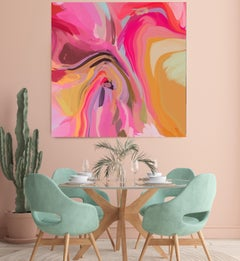 """Sparks of Pink, Contemporary Abstract Art Hand Textured Giclee on Canvas 45x45"""""""