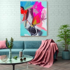 "Contemporary Colorful Art Textured Giclee on Canvas 45x60"" Secret From Common"