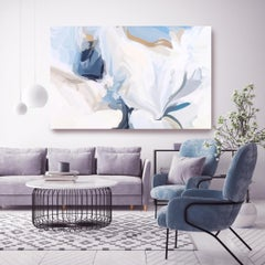 "Contemporary White Blue Painting Textured Giclee on Canvas 45x65"" Fresh Air"