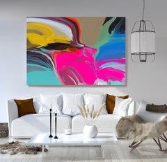 """Contemporary Colorful Art Textured Giclee on Canvas 45x60"""" Mysteries Afternoon"""