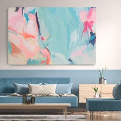 """Contemporary Pink Blue Painting Textured Giclee on Canvas 45x65"""" Lines of Life 4"""