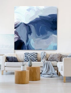"""The Blue Sea Wave, Contemporary Art Hand Textured Giclee on Canvas 48x48"""""""