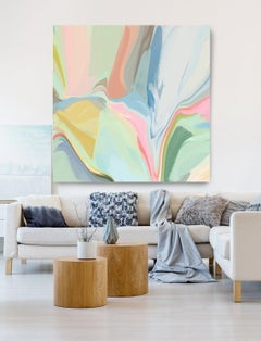 """Pastel Colors Hand Textured Giclee on Canvas Art 48x48"""" In its best light 2"""