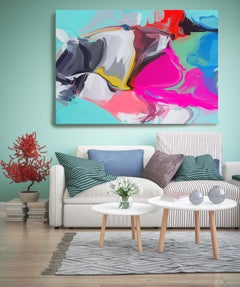 """Abstract  Painting Textured Giclee on Canvas 40x60"""" Secret from the Common"""