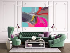 """Abstract Painting Textured Giclee on Canvas 40x60"""" Cardinal Color 2"""