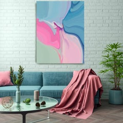 """Abstract  Painting Textured Giclee on Canvas 40x60"""" Colors on the blue side 2"""