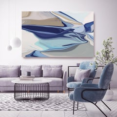 """At the End of a River, Blue Abstract Painting Textured Giclee on Canvas 40x60"""""""