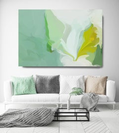 """Green Abstract Painting Textured Giclee on Canvas 40x60"""" Wrapped in Steam"""