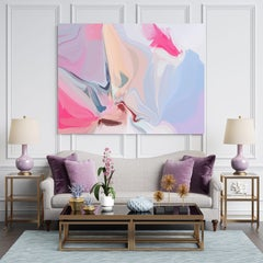 """Blue Pink Abstract Painting Textured Giclee on Canvas 40x60"""" Blue-Colored"""
