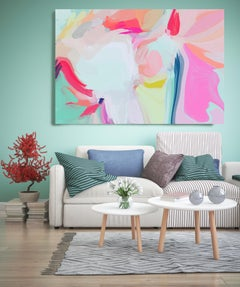 """Romance Painting Textured Giclee on Canvas 45x60"""" Pink Blue"""