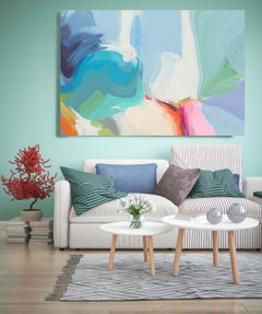 """Colors Glow Painting Textured Giclee on Canvas 45x60"""" Blue"""