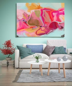 """Pink Painting Textured Giclee on Canvas 45x60"""" The Wind Moves, Contemporary"""