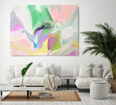 """Modern Flow Painting Textured Giclee on Canvas 45x60"""" The world before me"""
