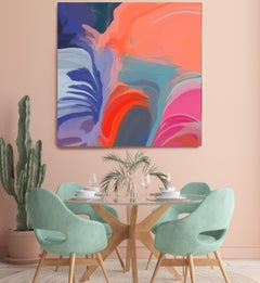 """Contemporary Painting Hand Textured Giclee on Canvas 45x45"""" Honeyed Daydream 1"""