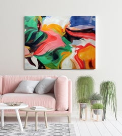 """Green Pink Flow Contemporary Abstract Acrylic Painting, 48W X 36""""H, Challenge"""