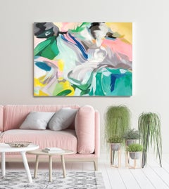 """Teal Pink Blue Contemporary Abstract Acrylic Painting, 48W X 36""""H Sympathy"""