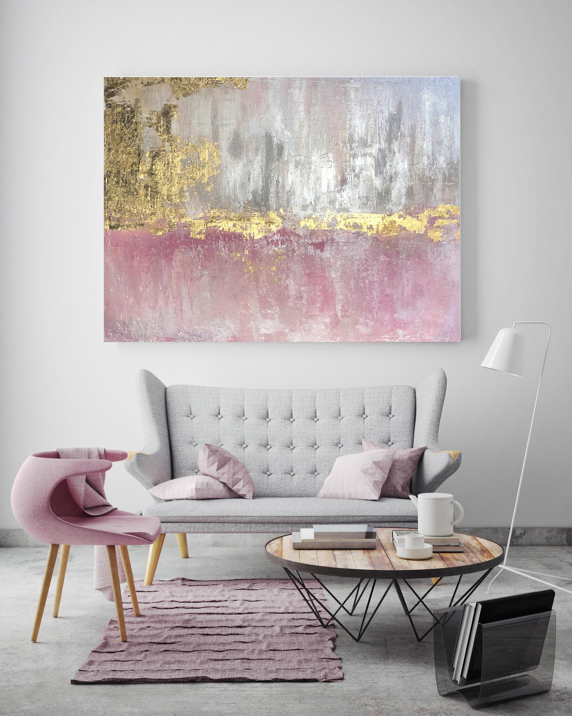 """Gold Leaf Pink Silver Abstract Textured Art on Canvas 36 x 48"""" Pink Golden Fog"""
