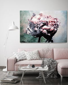 "Peony Green Pink, 36 H X 48"" W Abstract Framed Floral Painting, Shabby Chic"