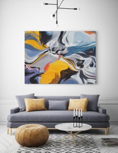 """Yellow Blue Contemporary Acrylic Painting, 48W X 36""""H Independence of Reality"""