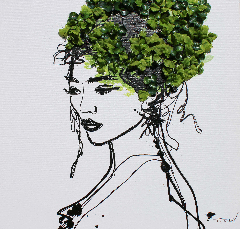 "Portrait Spring Woman - Mixed Media on Canvas 3D Design 24x24"""