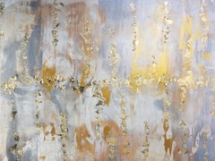 Gold Leaf Silver Contemporary Abstract Art on Canvas 36 x 48""