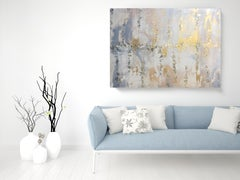 """Gold Leaf Silver Contemporary Abstract Art on Canvas 36 x 48"""""""