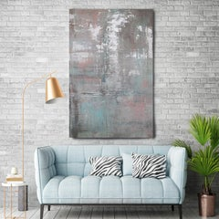 Silver Pink Contemporary Textured Mixed Medium on Canvas, Calm Water 30 x 48""
