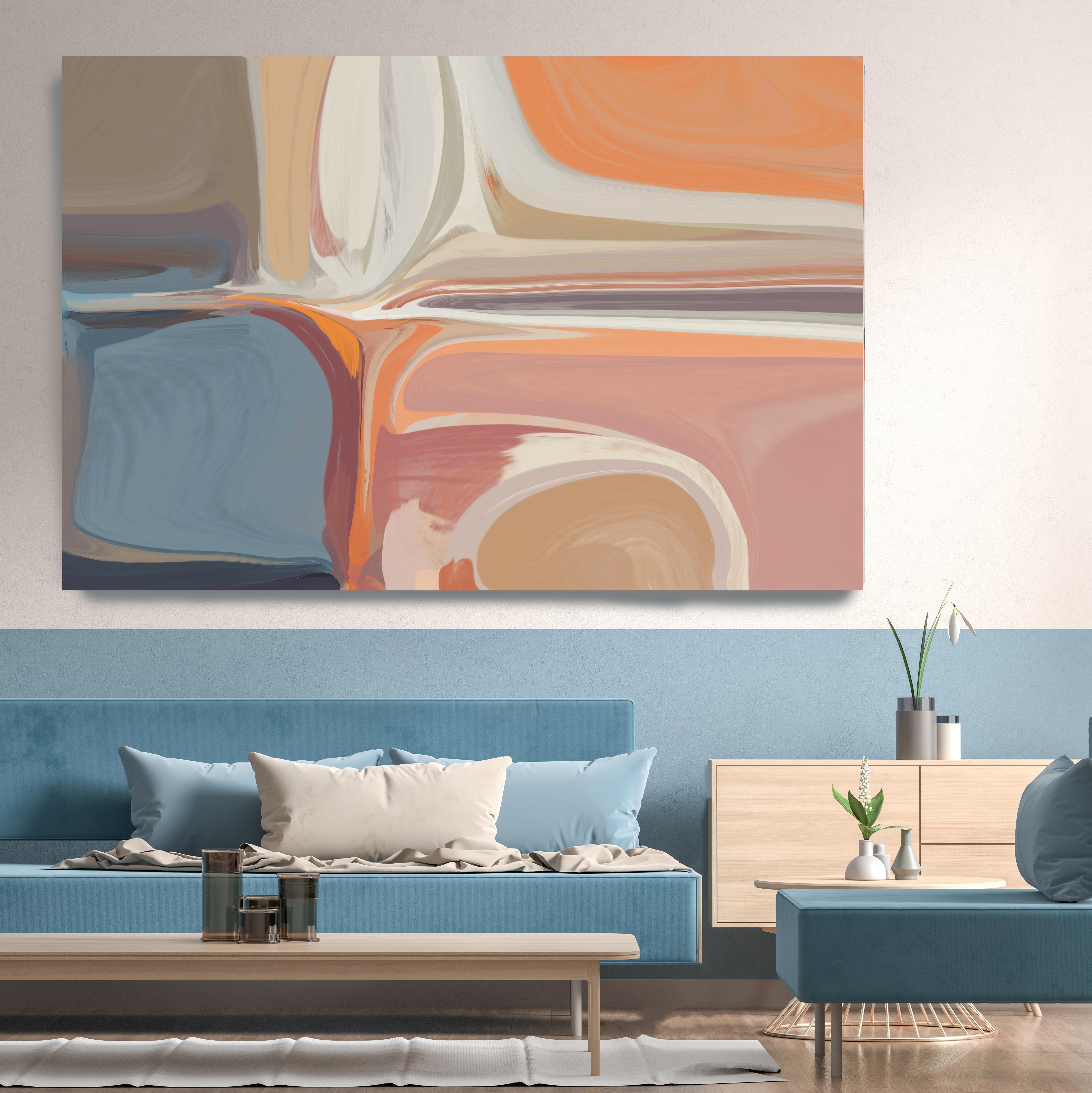 "Mid-Century Modern Orange Blue Painting Mixed Media Canvas 38x56"""