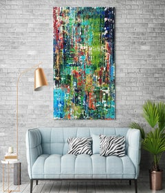 Green Blue Abstract Mixed Media on Canvas: Textured, Summer Breeze 24 x 48""