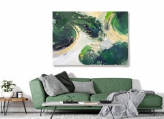 "Green Gold Acrylic Interior Painting, 48W X 36""H Abstract Art Magical Forest"