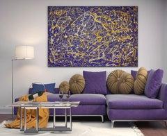 "Purple Jewel Jackson Pollock Inspired Drip Abstract Painting on Canvas 36x48"""