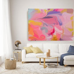 """Abstract Pink Yellow Painting Mixed Media Canvas 38x56"""" Aesthetic Perspective"""