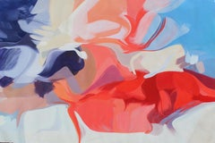 """Blue Red Abstract Painting on Canvas 55x78"""", Birth of an Idea, Collectible"""