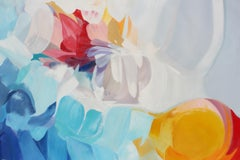 """Blue Red Yellow Abstract Oil Painting 48 X 72"""", Irena Orlov"""