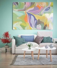 "Yellow Green Purple Painting Textured Giclee on Canvas 45x65"" Alternative"